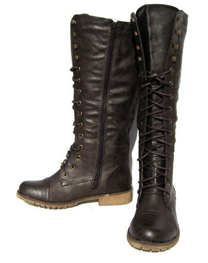 New Women's Khee High Fashion Boots Brown Biker shoes winter snow Ladies size 10