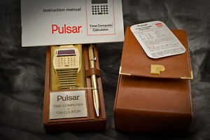 Solid-18k-750-Gold-PULSAR-LED-LCD-Calculator-Digital-Watch-w-Box-Pen-Papers