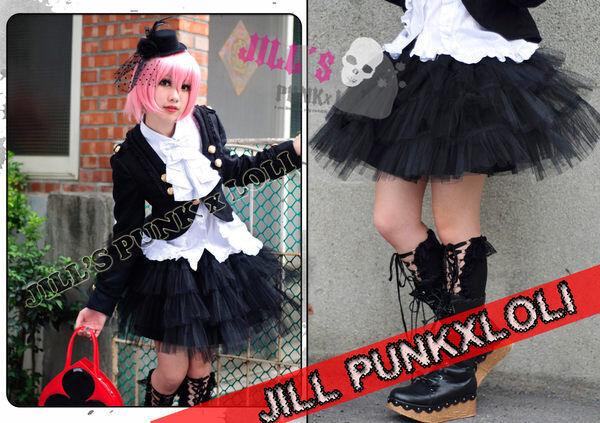 Punk KERA Tiered Puff Tulle Mesh Skirt crinoline Petticoat black JN2068