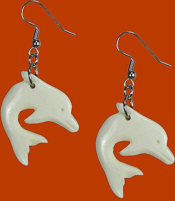 Handmade Dolphin White Bone Drop/Dangle Earrings | Sterling Silver Filled Hook
