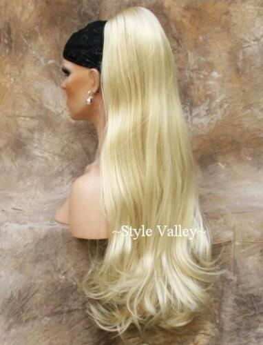 Long Blonde Ponytail Extension Straight w/ wavy ends Claw Clip in on Hair Piece