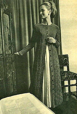 Vintage 1960s knitting pattern-How to make a 60s Maxi length long jacket coat