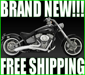 VANCE-amp-HINES-BIG-RADIUS-2-INTO-1-EXHAUST-PIPES-PIPE-HARLEY-1986-2011-SOFTAIL