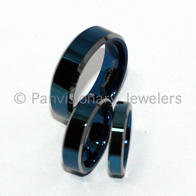 4mm Tungsten Carbide Ring Blue Polished Flat Wedding Band Bevel  sz 5 Clearance