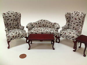 Queen ann living room set 5pcs for dollhouse 1 12 for L furniture warehouse victoria bc