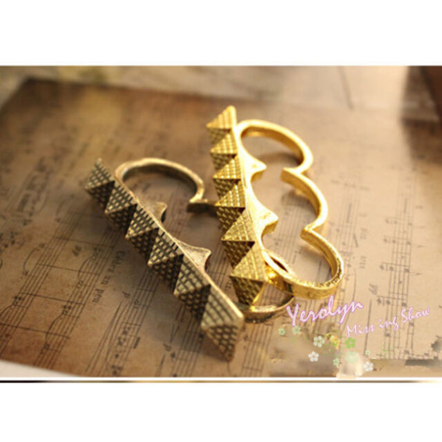Stylish Rock Multiple Egyptian Pyramid Studs Triangle Three Triple Finger Ring