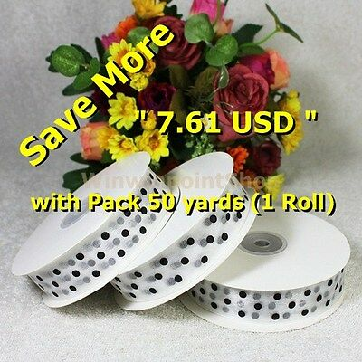"Lot 5 - 50 YDS 1"" 25mm Popular Black Polka Dot on Whie Polyester Organza Ribbon"