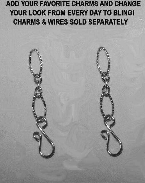 "1"" Textured Chain INTERCHANGEABLE Earring Charm Convertible EXTENDERS YG or SS"