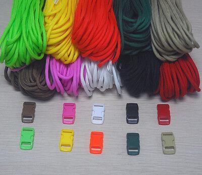 Paracord Kit for Parachute Cord Bracelet 60 ft ~ 20 ft each color +6 BUCKLES