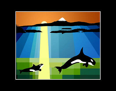 Westcoast SUNSET Orca Killer Whales Limited Edition print of JACK JAMES painting