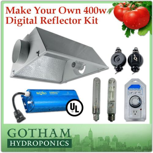 400w HPS MH Grow Light Digital Ballast Kit Hangers, Timer Complete 400 watt