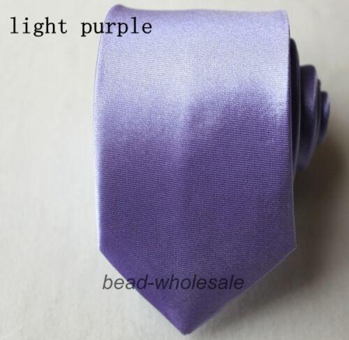 Fashion Casual Slim Plain Mens Solid Skinny Neck Party wedding Tie Silk Necktie