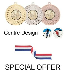 SPECIAL-OFFER-10-x-Skiing-45mm-Metal-Medals-Ribbon