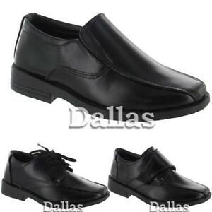 c662ad982d09 BOYS SMART DRESS SHOES KIDS FORMAL WEDDING BLACK BACK TO SCHOOL ...