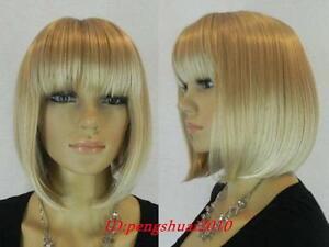 12-inch-Kanekalon-Series-Mixed-Blonde-A-Line-Bob-Short-Cosplay-Lady-039-s-Hair-Wigs