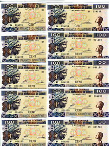 LOT-Guinea-10-x-100-Francs-2012-P-New-UNC-gt-colorful