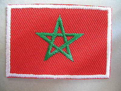 Moroccan Flag Small Iron On / Sew On Cloth Patch Badge MOROCCO المملكة المغربية