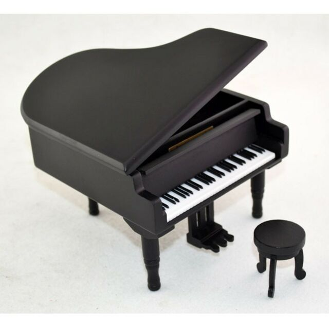 Antique Vintage Wind Up Wooden Music Box Piano Play Lilium of Elfen Lied,Black