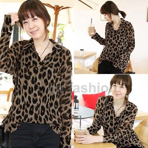 Oversized Womens Leopard Top Long Sleeve Shirt Button Down Chiffon Baggy Blouse