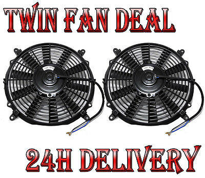 "2 x 14"" SLIM LINE COOLING RADIATOR FAN Spal Pacet Type"