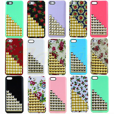 For iPhone 5 5G Punk Pyramid Rivets Design Studs Nails Hard Back Case Cover