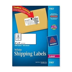 250 avery 5163 8163 2 x 4 shipping address labels 10 per sheet
