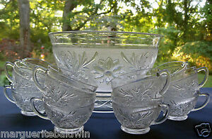 Anchor-Hocking-Glass-Clear-Sandwich-Punch-Bowl-amp-12-Cups-amp-Base-Set