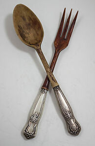 Set-of-Sterling-Silver-Handled-Wooden-Tipped-Serving-Fork-and-Spoon