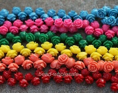 20pcs 10/12/15MM Resin Gorgeous Flower Shape Charms Loose Spacer Beads