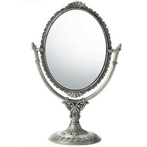 Both side antique standing mirror hand table makeup vanity for Silver stand up mirror