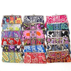 Vera Bradley Clutch Wallet Purse Handbag Double Kiss Lock