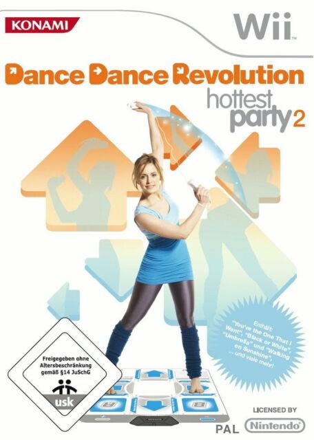 Dance Dance Revolution Hottest Party 2 (Nintendo Wii, 2009) + 2x Dancemat
