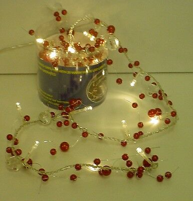 2M Pearl Red Bead Garland with 20 Warm White LED Lights Wedding/Xmas (L70R)