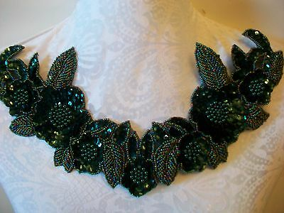 "12"" RAISED BEADING Bead & Sequin Neckline Applique GREEN"