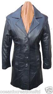 Ladies-Long-3-4-Quarter-Knee-Length-Soft-Black-Smart-Leather-Jacket-Coat