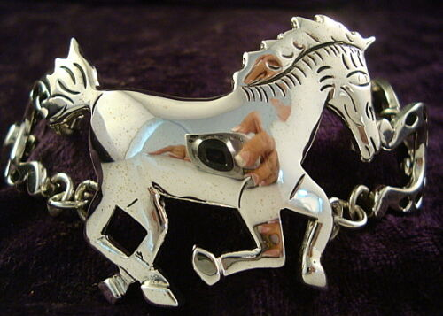 TAXCO MEXICAN STERLING SILVER HORSE HORSESHOE BRACELET MEXICO