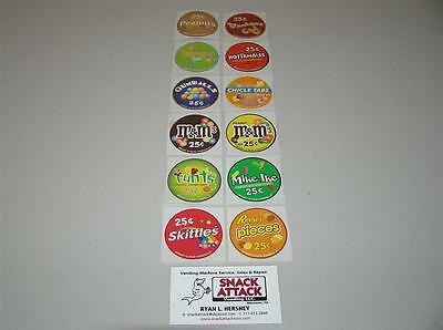 VENDSTAR 3000 BULK CANDY VENDING MACHINE / (12) CANDY LABEL STICKERS - NEW OEM