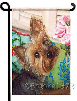 YORKIE painting w/ Pink Roses GARDEN FLAG Yorkshire Terrier Dog ART by Brooke F.