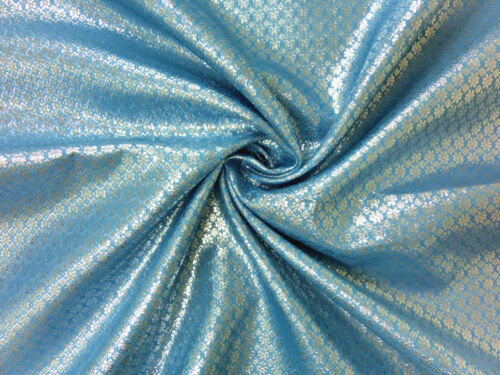 SKY BLUE SILVER BLING FLORAL METALLIC BROCADE FABRIC WEDDING CHAIR SASHES BOW