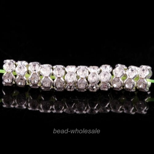 100pcs Crystal Rhinestone Paved Rondelle Spacer Beads 6mm for Jewelry Making