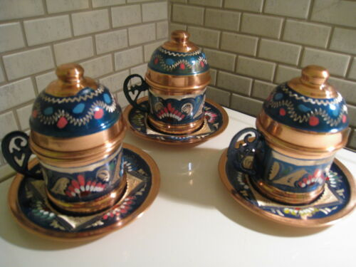 Ottoman Style Traditional  Copper Coffee&Espresso Cup&Saucer&Porcelain&Cover