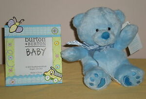 Baby Boy Picture Frame and Plush Blue Bear Set