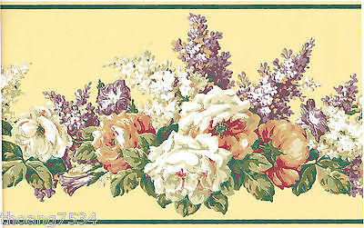 Victorian White Cabbage Rose Lilac Flower Floral Cream Green Wall paper Border