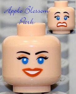NEW-Lego-Flesh-FEMALE-MINIFIG-HEAD-Indiana-Jones-Girl-w-Red-Lips-Smile-Blue-Eyes