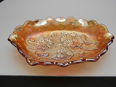 Imperial Pansy Oval Pickle Boat Bowl #478 Marigold Sign