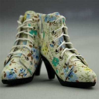 48# Blue Flower 1/4 MSD BJD DOD Dollfie High Heels Flanging Boots/Shoes