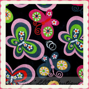BonEful-Fabric-FQ-Cotton-Quilt-Lg-Butterfly-Flower-Pink-Gray-Green-Breast-Cancer
