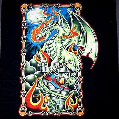 GREEN DRAGON CASTLE FABRIC WALL TAPESTRY HANGING WB228 HUGE FLAG tapestries NEW