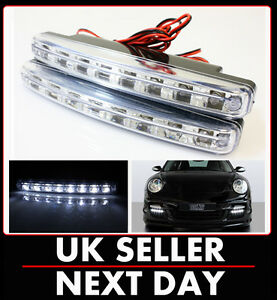 DRL-DAYTIME-RUNNING-LED-LIGHTS-FRONT-GRILL-FOG-CAR-VAN-WHITE-UNIVERSAL-UK
