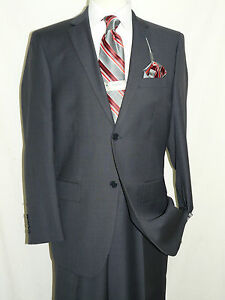 New-2013-Mens-Wool-blend-Sharkskin-two-button-suit-notch-lapel-plain-front-pants